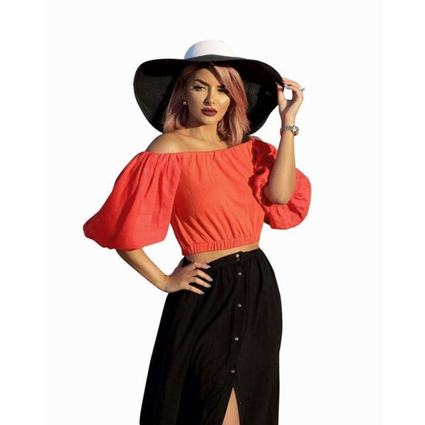Sexy Off Shoulder Blouse Fashion Women Short Sleeve Crop Tops Casual Red Blouse Shirt blusa manga comprida