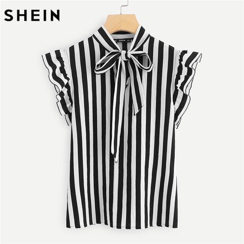 Summer Top Elegant Work Women Blouses Cap Sleeve Black and White Tie Neck Butterfly Sleeve Workwear Striped Blouse