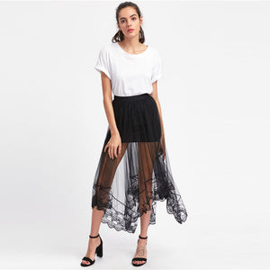 Black Sheer Overlay Skirt