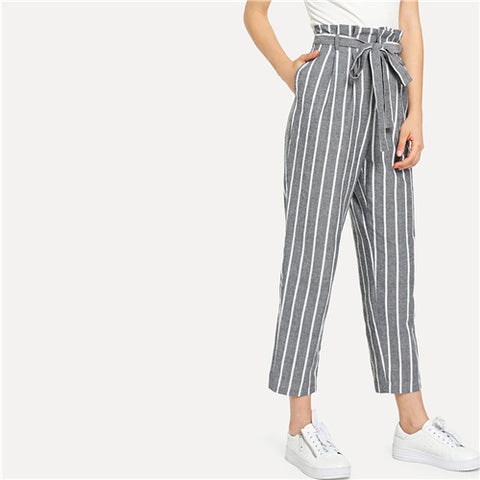 Grey Vacation Boho Bohemian Beach Self Belted Striped Tapered High Waist Pants Summer Women Weekend Casual Carrot Trousers