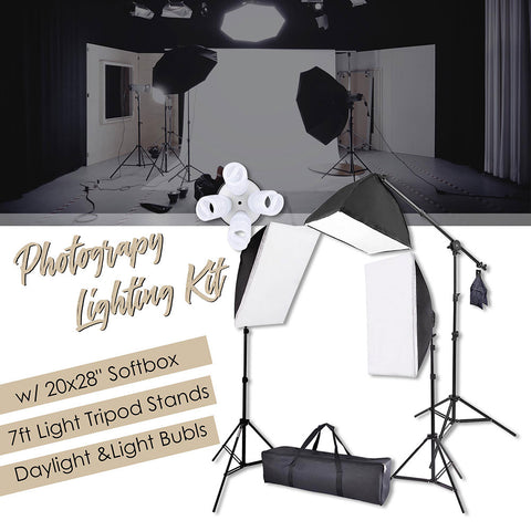 "Photograpy 20x28"" Softbox Boom Arm Stand Continuous Lighting Kit"