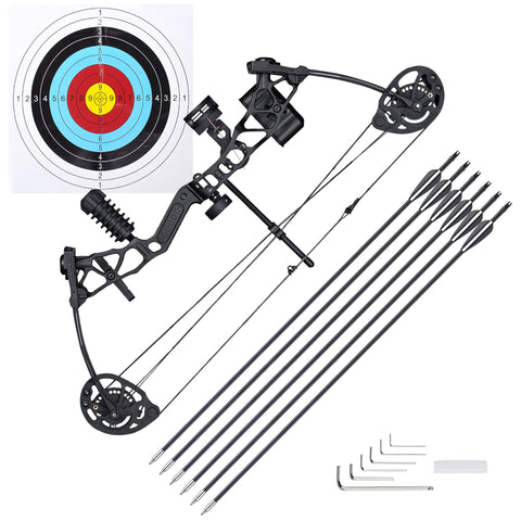 Youth Compound Bow Kit Right Hand Arrows Archery Outdoor Hunting 16 to 28 Lbs