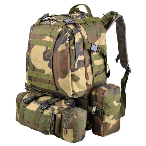 55L Tactical Army Rucksacks Molle Backpack Camping Hiking Bag Woodland camouflage