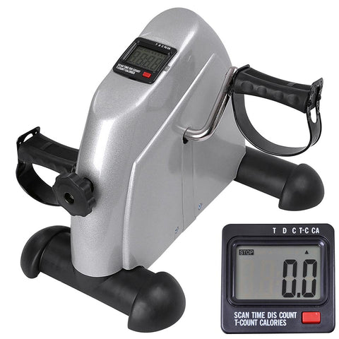 Arm and Leg Pedal Exerciser w/ LCD Display Under Desk Mini Silver