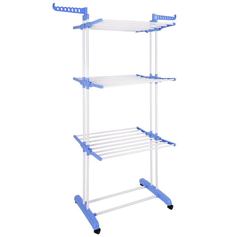 Foldable 3 Tier Clothes Drying Rack Rolling Collapsible Laundry Dryer