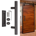 "12"" Sliding Barn Door Pull Flush Handle Set Matte Coffee for Wooden Door"