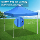 InstaHibit Pop Up Canopy Tent Commercial Shelter 10x10ft Blue
