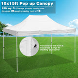 InstaHibit Pop Up Canopy Flea Market w/ 4 Sandbags CPAI-84 White