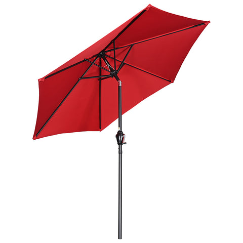 7.5Ft Outdoor Table Patio Umbrella Crank Tilt Sunshade for Backyard Deck Market