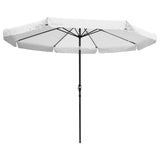 10ft Aluminum Outdoor Patio Umbrellaw/ Valance Crank Tilt White