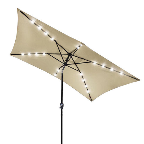10x6.5ft Rectangle Aluminium Umbrella Solar Powered LED Crank Tilt Beige