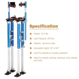 "Aluminum Drywall Stilts Adjustable Painting 36""-50"" Blue"