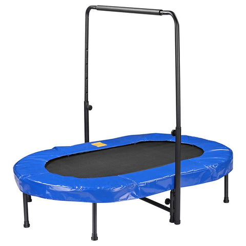 "60x38"" Workout Oval Trampoline Adjustable Foam Handle 2 Kids Home Jumping Mat"