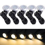 Set of 5 Warm White LED Deck Lights Outdoor Garden Malls Stair