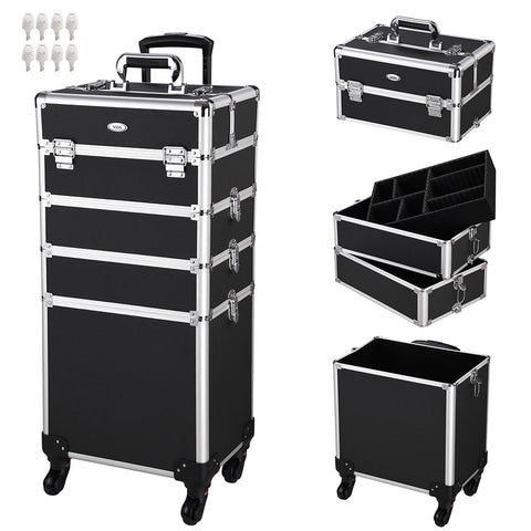 AW Aluminum Rolling Makeup Case w/ Keylock 4in1 Black