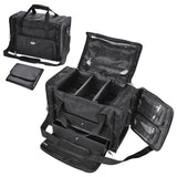 1200D Oxford Pro Black Soft Makeup Train Bag Case Pockets 17x9x12
