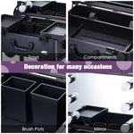 "Rolling Makeup Case 12x8x20"" with LED Light Mirror Adjustable Legs"
