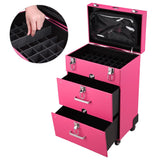 "Professional 14x9x20"" Nail Artist 4 Wheel Rolling Makeup Case Cosmetic"