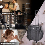 Rolling Makeup Train Case Soft-sided Oxford Cosmetic Travel Bag with