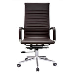 High Back Ribbed PU Leather Swivel Office Computer Desk Brown XL