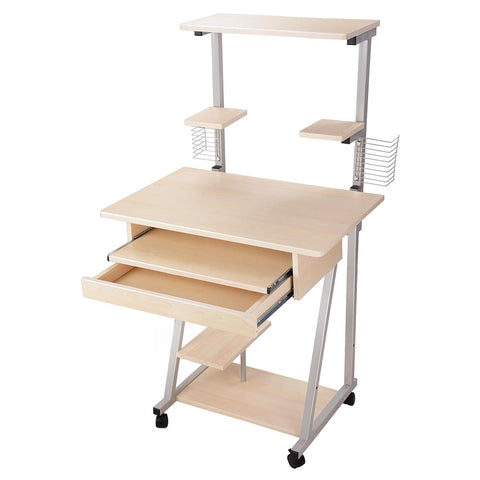 Mobile Computer Desk Tower Printer Shelf Laptop Rolling Table Study