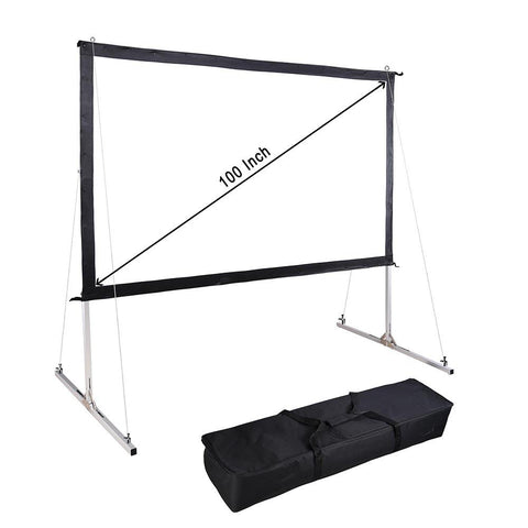"100"" Portable Fast Folding Projector Screen 16:9 HD with Stand and"