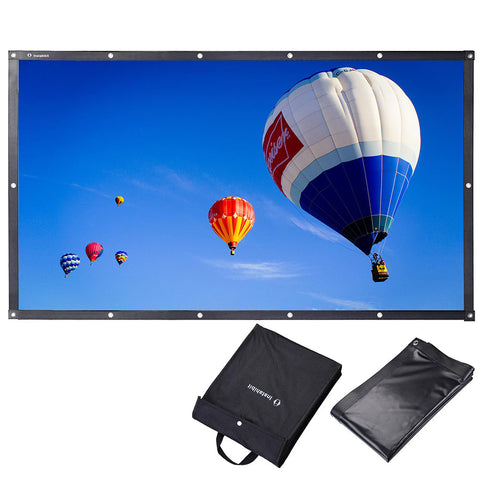 "84"" 16:9 Portable Front Projection Screen Foldable PVC 3D 4K HD with"