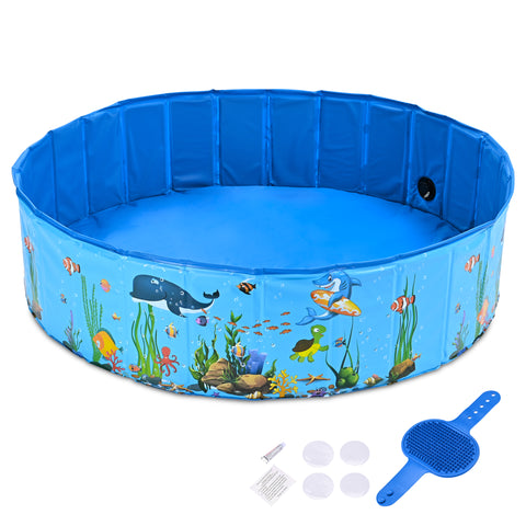 Foldable Pet Swimming Pool Anti-slip PVC Portable Bath Tub for Dog Cat Yard