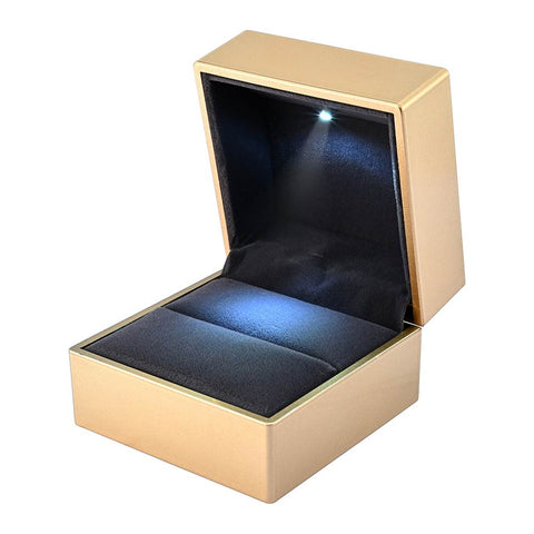 LED Ring Box Jewelry Wedding Engagement Proposal Lighted Ear Ring Pendant Case Gold