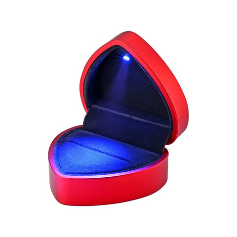 Heart Shape LED Ring Box Jewelry Wedding Engagement Proposal Light Storage Case Red