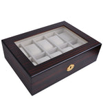10 Slot Wooden Watch Display Case Glass Top Jewelry Collection Storage