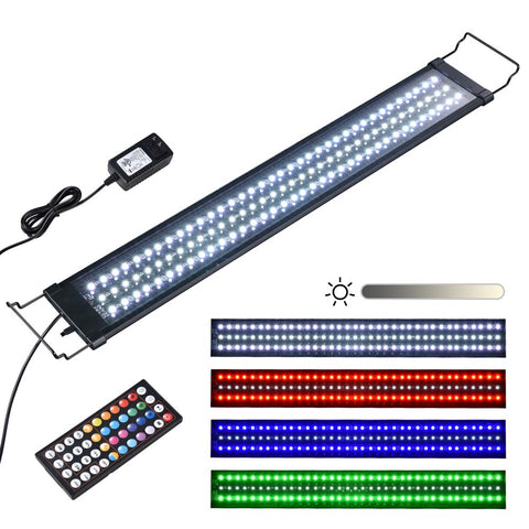AquaBasik Aquarium LED Light with Timer Dimmable Lamp Fish Tank Coral Home