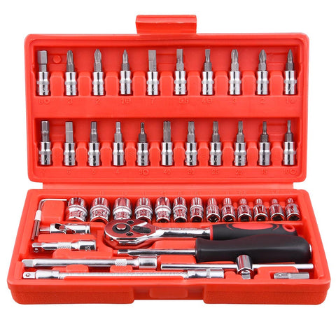 46pcs Socket Set Ratchet Wrench Spanner Auto Repair Tool Combination