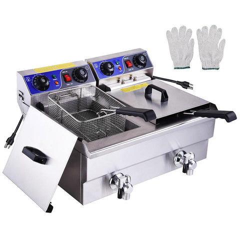 Commercial Electric 23.4L Deep Fryer Dual Tanks with Timers and Drains