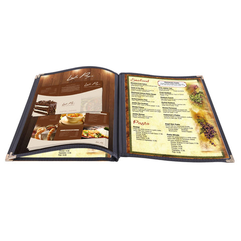 "30 Pack 8.5""X14"" Menu Covers 3 Pages 6 Views Black Triple Book Style"