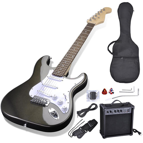 "39"" Full Size Electric Guitar Set with 10W AMP Bag Strap Picks Black"