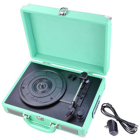 Record Player Classic Portable Suitcase 3-Speed Stereo Turntable