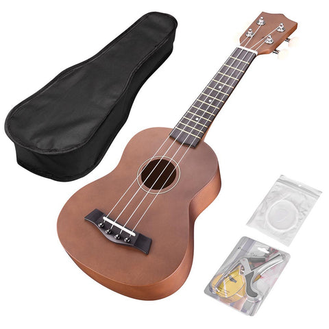 "21"" Soprano Ukulele Hawaii Instrument 12 Frets for Beginners Gig Bag Show Party"