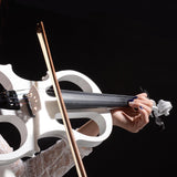 4/4 Electric Violin Full Size Wood Silent  Bow Headphone Case White