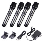 Wireless Microphone System 4 Channel UHF 4 Lapel Mics 262ft