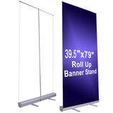 "39.5""x79"" Retractable Roll Up Banner Stand Trade Show Sign Display"