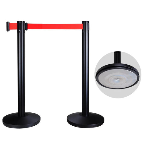2pcs Black Steel Retractable Crowd Control Stanchion w/Red Belt Queue