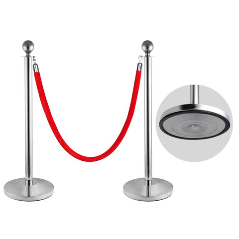 2pcs Ball Top Stainless Steel Crowd Control Stanchions Velvet Rope