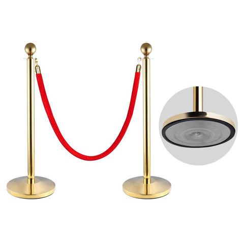 2pcs Ball Top Titanium Finish Crowd Control Stanchions Velvet Rope
