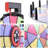 "15"" Tabletop Color Prize Wheel 2 Circles 2 Pointers Spinning Game"