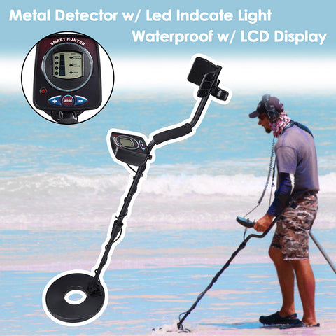 "LED Metal Detector 2 Modes Sensitive Search Waterproof 8-3/5"" Coil"