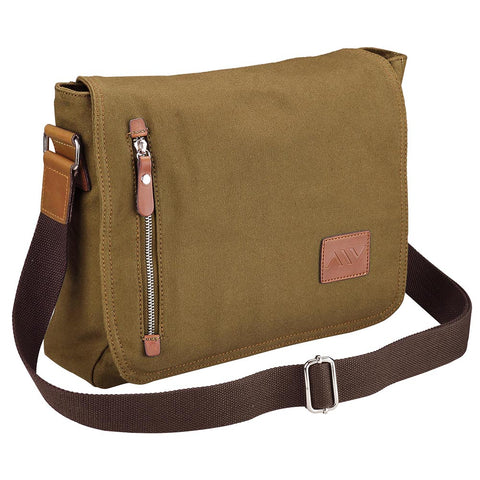 "14"" Vintage Canvas Cross Body Casual Shoulder Messenger Bag"