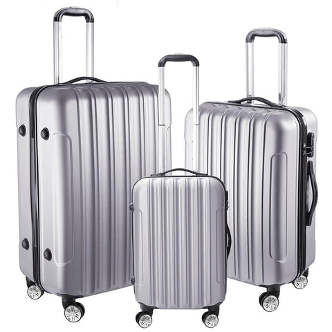 "3 Piece Luggage Set 20"" 24"" 28"" Rolling Travel Case Lockable ABS Silver"