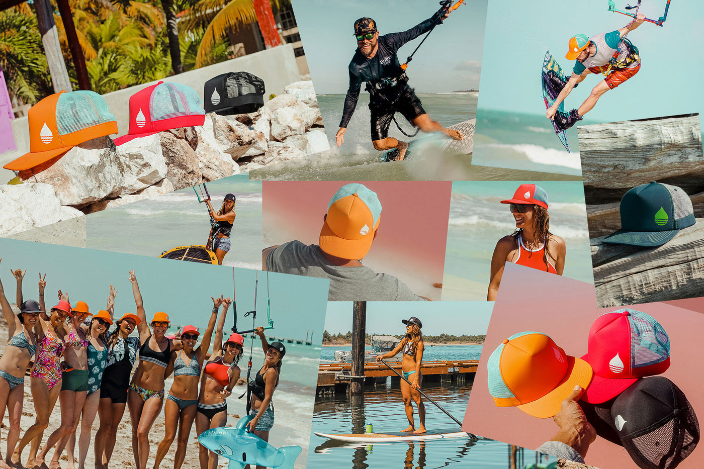 BUOY WEAR photo collage featuring the floating, waterproof headgear, and water sports athletes and passionates wearing them.