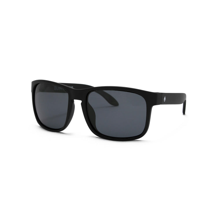 Black Matte Polarized Floating Sunglasses Smoke, Front Side - BUOY WEAR